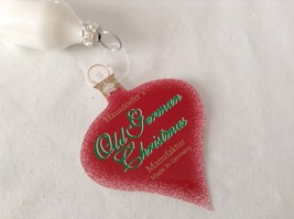 Icicle shiny white w red glitter  Glass Ornament Old German Christmas image 4