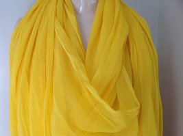 Indian Style Yellow Beaded Scarf Scrunched Design Tassels are Beaded image 2