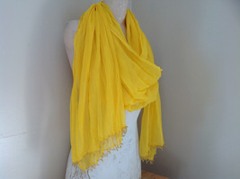Indian Style Yellow Beaded Scarf Scrunched Design Tassels are Beaded image 3