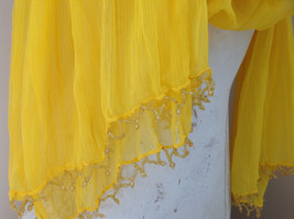 Indian Style Yellow Beaded Scarf Scrunched Design Tassels are Beaded image 5