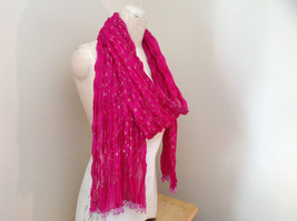 Indian Style Pink Scrunched Real Gold Stamped Embossed Scarf with Tassels image 2