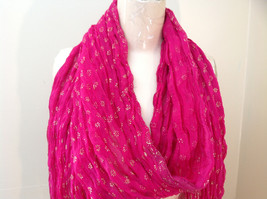 Indian Style Pink Scrunched Real Gold Stamped Embossed Scarf with Tassels image 3
