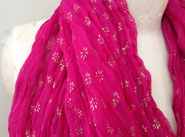 Indian Style Pink Scrunched Real Gold Stamped Embossed Scarf with Tassels image 4