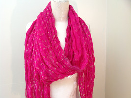 Indian Style Pink Scrunched Real Gold Stamped Embossed Scarf with Tassels image 7