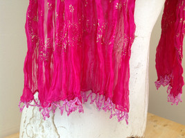 Indian Style Pink Scrunched Real Gold Stamped Embossed Scarf with Tassels image 5