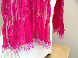 Indian Style Pink Scrunched Real Gold Stamped Embossed Scarf with Tassels image 6