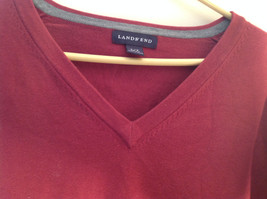 Maroon Dark Red Lands End V Neck Shaped Stretchy Casual Sweater Size Large image 6