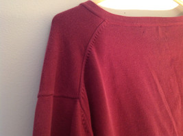 Maroon Dark Red Lands End V Neck Shaped Stretchy Casual Sweater Size Large image 9