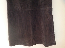 Massini Real Suede Leather Brown Long Length Skirt Zipper Closure Back Size 10 image 3
