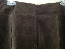 Massini Real Suede Leather Brown Long Length Skirt Zipper Closure Back Size 10 image 6