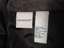 Massini Real Suede Leather Brown Long Length Skirt Zipper Closure Back Size 10 image 10