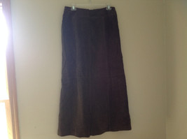 Massini Real Suede Leather Brown Long Length Skirt Zipper Closure Back Size 10 image 9