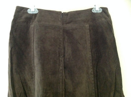 Massini Real Suede Leather Brown Long Length Skirt Zipper Closure Back Size 10 image 7