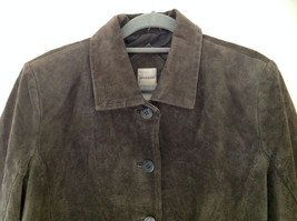 Massini Brown Real Suede Leather Button Up Blazer Jacket Front Pockets Size M image 2