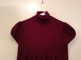 Maroon Planet Gold Short Sleeve Turtleneck Sweater Top Pretty Sleeves Size Large image 3