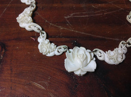 Intricate White Carved Necklace Flowers Adjustable Copper Alloy Links vintage image 2