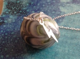 Itty bitty lightening bolt Silver Chain Necklace Zina Kao Pearl accent USA made image 2