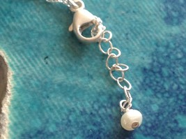 Itty bitty lightening bolt Silver Chain Necklace Zina Kao Pearl accent USA made image 5