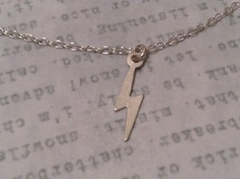 Itty bitty lightening bolt Silver Chain Necklace Zina Kao Pearl accent USA made image 6
