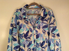 J M Collection Blue Floral Linen Button Up Blouse Size 22W image 2