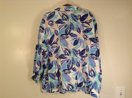 J M Collection Blue Floral Linen Button Up Blouse Size 22W image 8