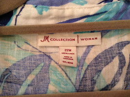 J M Collection Blue Floral Linen Button Up Blouse Size 22W image 6
