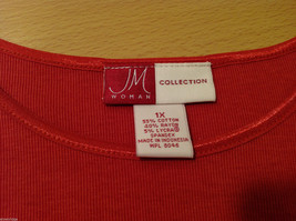 JM Woman Collection Stretch Calm Red Scoop Neck Classic T-shirt, Size 1X image 8