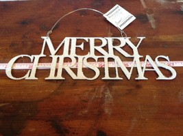 Merry Christmas White Glittered Ornament Primitives by Kathy Wire for Hanging image 2