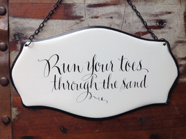 Metal Black and White Vintage Style Sign Run Your Toes Through the Sand image 2