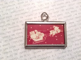 Merry Christmas Charm Present Tie On Versatile Reversible Tag Metal Glass Tag image 2