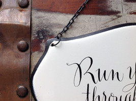 Metal Black and White Vintage Style Sign Run Your Toes Through the Sand image 4