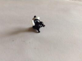 Micro Miniature hand blown glass made USA NIB black white dog w upturned ear image 3