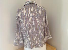 Jaipur Pale Purple Tan Paintbrush Design Button Up V Neckline Shirt Size Medium image 6