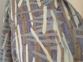 Jaipur Pale Purple Tan Paintbrush Design Button Up V Neckline Shirt Size Medium image 4