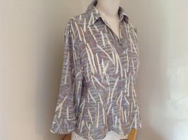 Jaipur Pale Purple Tan Paintbrush Design Button Up V Neckline Shirt Size Medium image 2