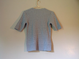 Jeanne Pierre Size Small 100 Percent Cotton Gray Short Sleeve V Neckline Sweater image 2