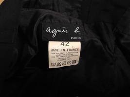 Jet Black Dress Pants Aquis Size 42 Made in France Front Button Zipper Closure image 9