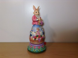 Jim Shore New Easter is Coming on the Way Bunny Rabbit Music Box Carousel NIB image 6