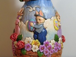 Jim Shore New Easter is Coming on the Way Bunny Rabbit Music Box Carousel NIB image 8