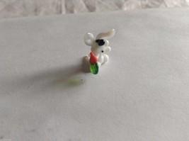 Micro Miniature hand blown glass made USA NIB white bunny w carrot image 2