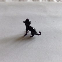 Micro Miniature small hand blown glass creepy black arched back cat made USA NIB image 3