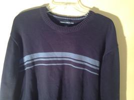 John Ashford Dark Blue with Light Blue Stripe Stretchy Sweater Stretchy Size XL image 2