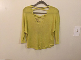 Joice Leslie Yellow Green Metallic Pink Heart 3/4 Sleeve T-shirt Blouse, Size S image 2