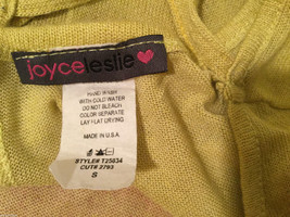 Joice Leslie Yellow Green Metallic Pink Heart 3/4 Sleeve T-shirt Blouse, Size S image 4