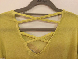 Joice Leslie Yellow Green Metallic Pink Heart 3/4 Sleeve T-shirt Blouse, Size S image 3