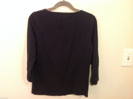 Jones New York V-neck Stretchy Cotton Black 3/4 sleeve Blouse Top, Size S image 3