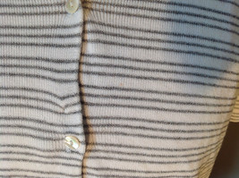 Jones New York Button Up Collared Short Sleeves Shirt White Gray Striped Size L image 2