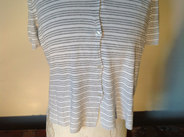 Jones New York Button Up Collared Short Sleeves Shirt White Gray Striped Size L image 4