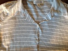 Jones New York Button Up Collared Short Sleeves Shirt White Gray Striped Size L image 8