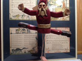 Jumping Santa String Toy Ornament Red Wooden Vintage Look image 3